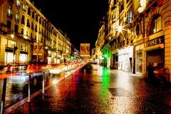 Colorfull ulica w Lille przy nocą Zdjęcia Stock