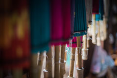 Colorfull umbrellas in workshop Stock Images