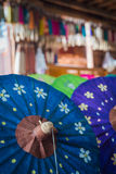 Colorfull umbrellas in workshop Royalty Free Stock Photo