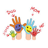 Colorfull up hands of a family. Vector illustration on colorless background with colorfull up hands of a family Stock Photos