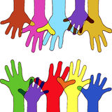 Colorfull up hands Stock Photos
