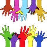 Colorfull upp händer Arkivfoton