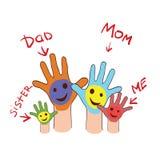 Colorfull upp händer av en familj Arkivfoton