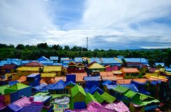 Colorfull village under the blue sky