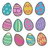 Colorfull wektorowa inkasowa mieszanka Easter jajka z różnymi wzorami ilustracja wektor