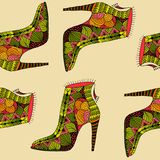 Seamless background with fantasy pattern shoes. Colorfull women shoes with fantasy pattern Royalty Free Stock Images