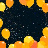 Colorfull yellow and orange flying balloons on the starry night sky background. Vector. Colorfull yellow and orange flying balloons on the night sky background Royalty Free Stock Photos