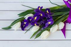 Colorfullboeket van bloemen, tulpen en iris, op zonnige dag op w Royalty-vrije Stock Afbeelding