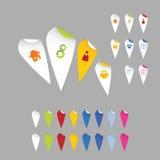 Colorfully översiktspekare. Klistermärkear för modern design - fläckar för rengöringsdukar Vektor Illustrationer