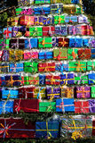 Colorfully arranged Christmas presents Royalty Free Stock Photos