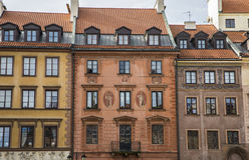 Colorfully budynki w Warszawa, Polska Zdjęcia Stock