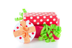 Colorfully decorated giftboxes Stock Photos