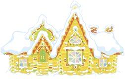 Ornate log house under snow stock image