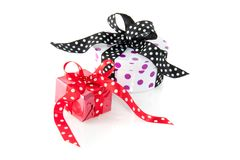 Colorfully dotted gifts Stock Images