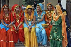 Colorfully Dressed Indian Women Royalty Free Stock Photography