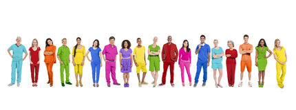 Colorfully Dressed Multiethnic Group of People Royalty Free Stock Image