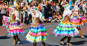 Colorfully dressed street performers at Disneyland Stock Photography