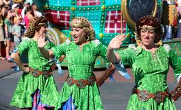 Colorfully dressed street performers at Disneyland Stock Photos