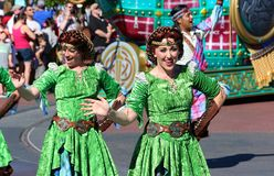 Colorfully dressed street performers at Disneyland Royalty Free Stock Photos