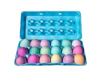 Colorfully dyed carton of 18 Easter eggs. stock image