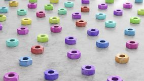 Vibrantly Colored Hardware Nuts on a Reflective Concrete Surface. Colorfully painted construction nuts on a clear concrete floor. This image is a 3d render stock illustration