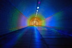 colorfully tänd tunnel Arkivfoto