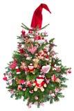 Colorfully verfraaide geïsoleerde Kerstboom met rode decoratie Stock Foto's