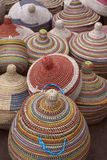 Colorfully Woven African Baskets With Lids Stock Photos