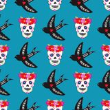 Colorful seamless pattern background Dia De Los muertos holiday day of the dead vector. royalty free illustration