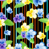 Colorfulseamless pattern with pansies-01 Stock Photo