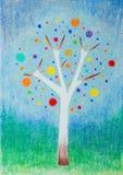 Colorfulstylized de hand getrokken illustratie van boom Stock Afbeeldingen