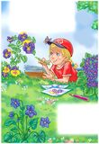 Artistic drawing of a little girl laying among flowers in the summer garden. Colorfulvertical page ilustration of a little blond girl drawing flowers in the stock illustration