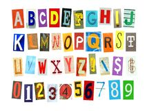 Colorfur newspaper alphabeth and number. Colorful alphabets , numbers and some signs and symbols cut out in newspaper isolated on a white background Stock Image