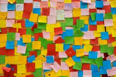 Colorfur post it notes with wishes for parent day. Royalty Free Stock Image