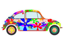 Colorfur retro hippie car. Silhouette of a colorful car of hippies on a white background Stock Photos