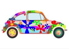 Colorfur retro hippiebil stock illustrationer
