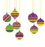 Colorfut green and purple christmas baubles Stock Photo