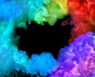 Colori acrilici in acqua. Fondo astratto. Fotografia Stock