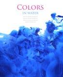 Colori acrilici in acqua, fondo astratto Fotografia Stock