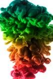 Colori acrilici ed inchiostro in acqua Sottragga la priorità bassa del blocco per grafici Isolato su bianco Immagini Stock Libere da Diritti