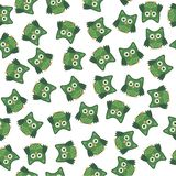 Colori bianchi di arte del gufo di verde seemless stilizzato del modello illustrazione di stock