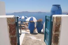 Colori blu e bianchi di Santorini, Grecia Fotografie Stock