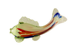 Colori blu e rossi di vetro di verde del pesce della figurina, Fotografie Stock