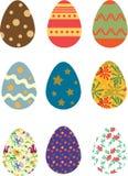 Colori d'annata variopinti delle uova di Pasqua fotografie stock libere da diritti