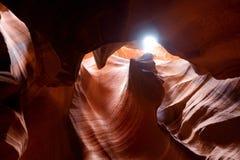 Colori d'ardore del canyon superiore dell'antilope, il canyon famoso della scanalatura nella prenotazione navajo vicino alla pagi fotografia stock libera da diritti