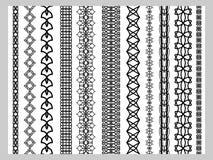 Colori dei modelli degli elementi della decorazione di Henna Border dell'indiano in bianco e nero royalty illustrazione gratis