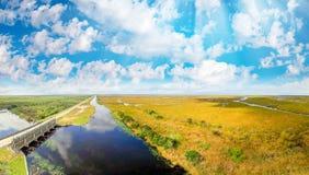 Colori dei terreni paludosi in Florida Vista aerea al crepuscolo Fotografia Stock Libera da Diritti