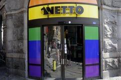 Colori dell'arcobaleno dei tunrs della drogheria di Netto Fotografie Stock Libere da Diritti