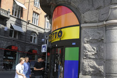 Colori dell'arcobaleno dei tunrs della drogheria di Netto Fotografia Stock Libera da Diritti