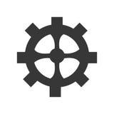 Colori dell'icona dell'ingranaggio, del dente o della ruota in bianco e nero Fotografie Stock